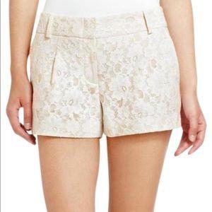 BCBGMAXAZRIA off-white lace shorts